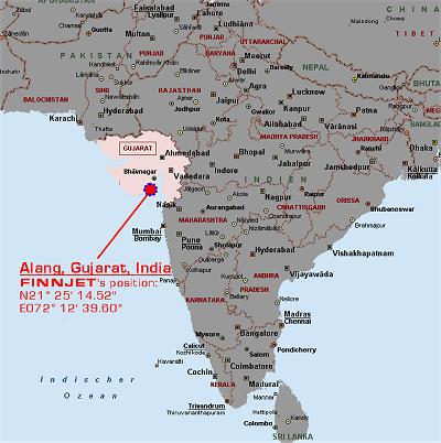 Rezalište Alang, India Alang_map